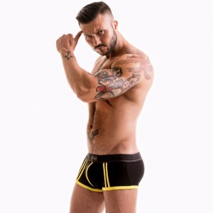 FETISH GEAR Core Boxer Trunk | Black & Yellow