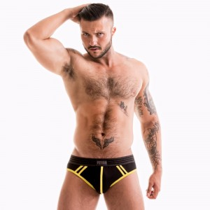 FETISH GEAR Core Brief | Black & Yellow