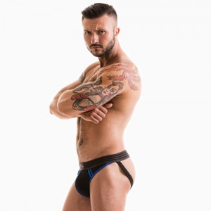 FETISH GEAR Core Jockstrap | Black & Royal Blue