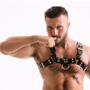 Titus H-Front Leather Chest Harness | Black