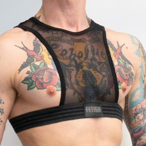STRAPPED HARNESS Black/Grey Mesh S-M