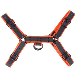 Leather Colour Piping H - Front Harness - Orange | Large
