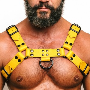 Fetish Gear Solid Colour H Front Harness - Yellow | Large