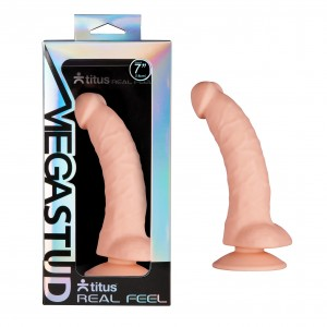 Titus MEGASTUD Real Feel: Duo Density Dildo with Suction Cup - 7 Inch Curved