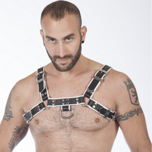 Titus H-Front Leather Chest Harness | Black & White