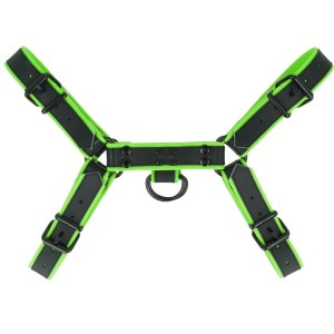 Leather Colour Piping H - Front harness - Lime | Small