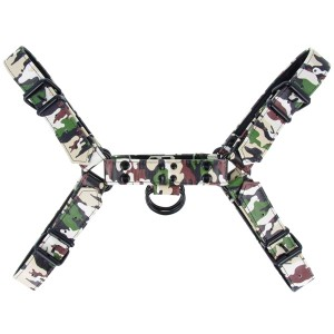 Fetish Gear Solid Colour H Front Harness - Army Camouflage | X Large