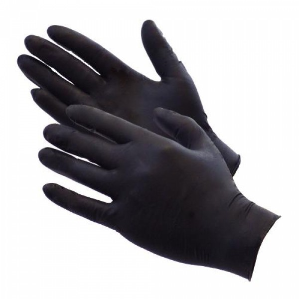 Black Matte Latex Fisting Gloves - Pack of 100 - Size: Large